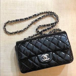 "Chanel Black Patent ""New"" Rectangular Mini Flap"